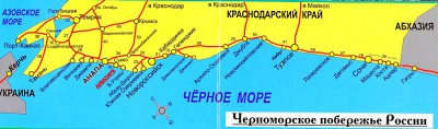podrobnai karta poberegia krasnodarskogo krai